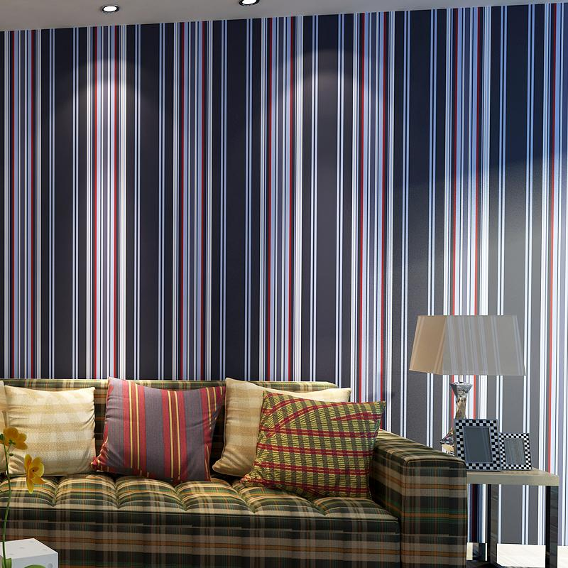 New pattern striped wallpaper,Blue and white and red stripe wall paper for living room bedding room<br><br>Aliexpress