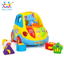 Baby Educational Toys Car Cartoon Child Funny Bus Playing Matching Game Toy With Music/Light/Cubic Block Kids Toy For Baby 18M+(China)