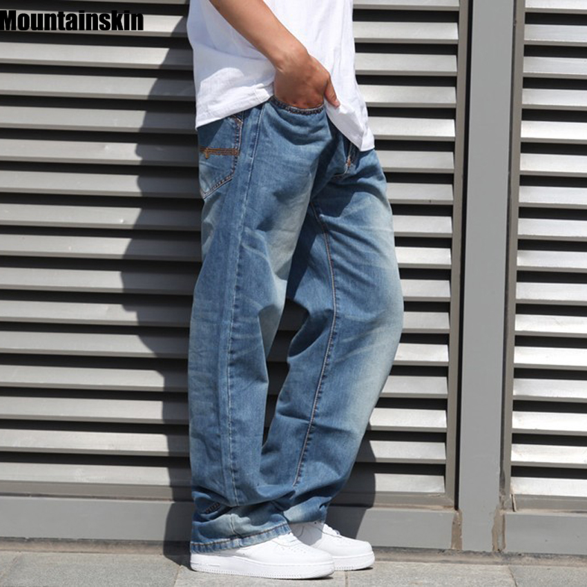 Mountainskin Mens Trendy Jeans Streetwear Retro Mens Jeans Hiphop Old Jeans Casual Loose Denim Jeans Plus Size 44 46,JA463  Одежда и ак�е��уары<br><br><br>Aliexpress