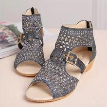 Women Summer Hollow Out Roman Sandals Back Zipper Diamend Open Toe Wedge Sandals(China)