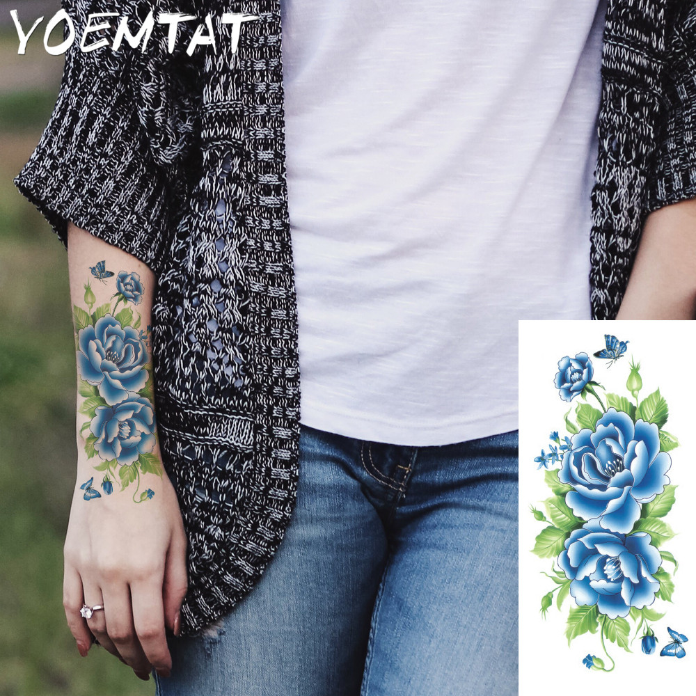 25 style flower arm shoulder tattoo stickers flash henna tattoo fake waterproof temporary tattoos sticker women 10