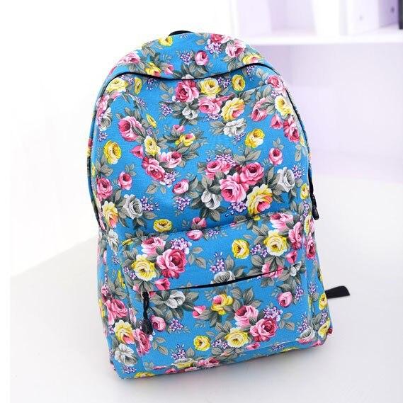 The new 2015 quarter selling backpack National roses canvas effect female bag girl,s flowers school bag Rural amorous travel bag<br><br>Aliexpress