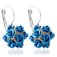 F&U Top-selling Silver Color Elegant Different Color Rose Flower Silver Color Clip Earrings for Young Lady