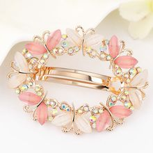 1PC Fashion Girls Barrette Butterfly Hairpins Crystal Rhinestone Flower Women Hair Clip Barretes Hair Accessories(China)