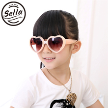 Sella Kids Fashion Love Clamshell Heart Shape Sunglasses Cute Colorful Girls Sun Glasses Children Summer Style UV400
