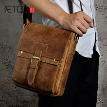 AETOO Ophiopogon leather leather foreign trade Europe and the United States retro men 's 10 - inch Tablet PC shoulder diagonal p