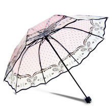 PVC Transparent Umbrella Printing series Unique design umbrella rainy and sunny Three folding for women(China)