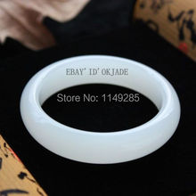 white christmas gift Certified 100% White Fashion Retro Female Natural Jade Bangle Bracelet(China)