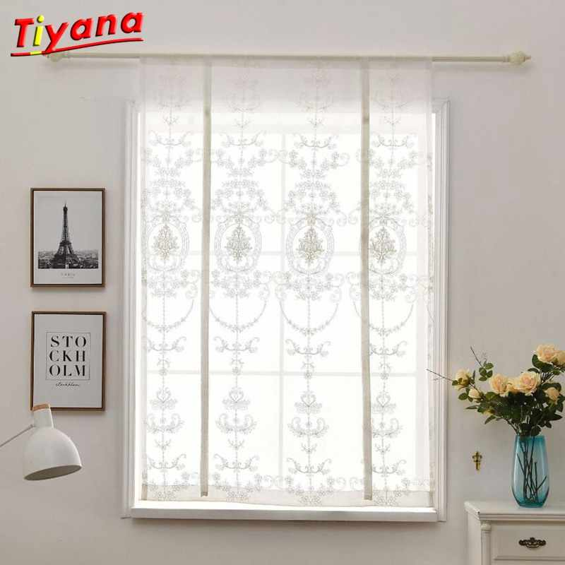 1pcs White Embroidery Kitchen Curtain Roman Window Treatment for Small Windows 100*140/80*120 Rod Pocket Curtain Tulle Panel *5