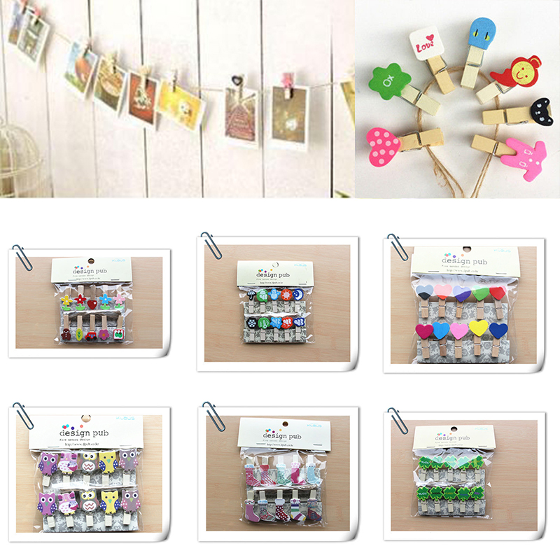10Pcs DIY Wood Grain Wall Paper Photo Frame Home Decor Wall Picture Hanging Rope Wooden Clip Fast shipping