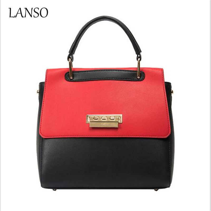 2017 Big Luxury Panelled Lock Handbag Female Casual Big Bag Brand Fashion Designer  Pu Leather Handbags Tote Ladies Hand Bag<br>