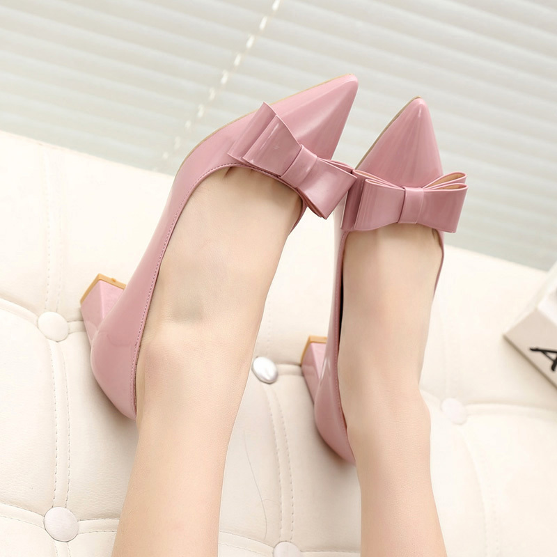 2017 new women spring shoes lady suede heel OL shoes thick shallow mouth high heeled shoes Korean wedding shoes design lady pump<br><br>Aliexpress