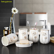 Wedding Gold Bathroom Set Ceramic Series Bathroom Set Wash Kit bathroom set ceramic bathroom supplies toothbrush cups gifts
