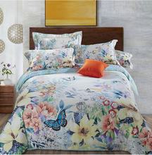luxury butterfly flower tencel luxury 4pcs bedding set king size queen size bed set duvet cover bed sheet pillowcase bed linings