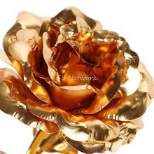 Long Stem Dipped 24k Gold Trim Rose Flowers in Gift Box Valentines Mother's Day Gift