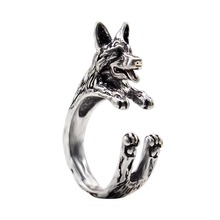 QIMING Unique Design Handmade Boho Chic Retro German Shepherd Ring Female and Male Pet Dog Adjustable Rings Lovers Gift Idea