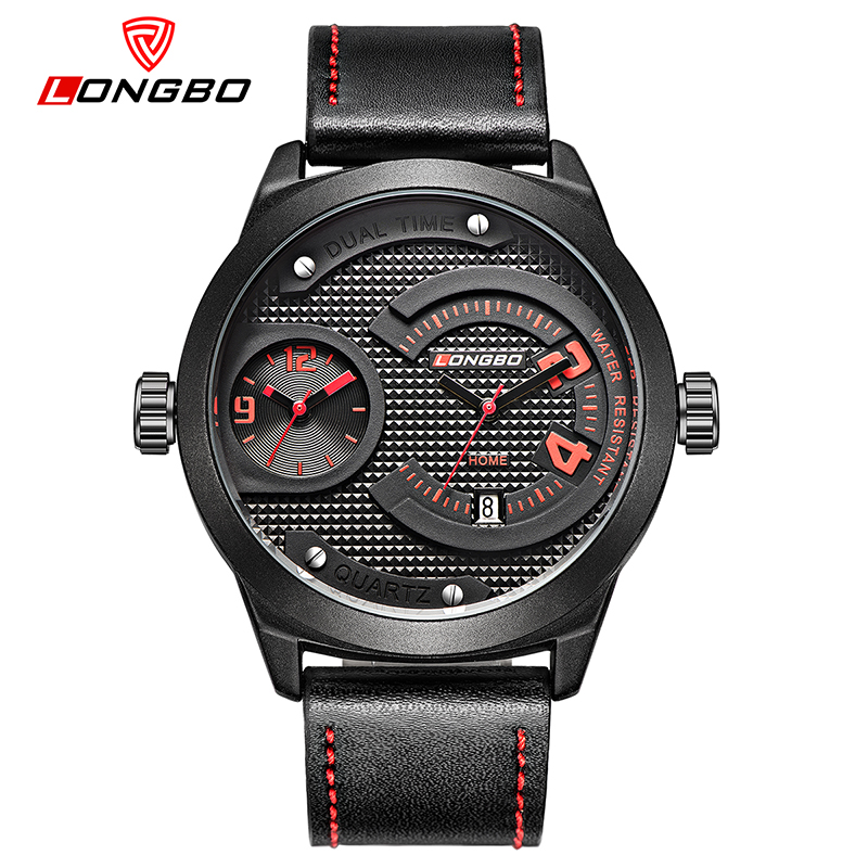 LONGBO Luxury Dual Time Display Mens Quartz Watches Men Fashion Wristwatches Leather Watchband Date Military Sport Watch 3016<br>