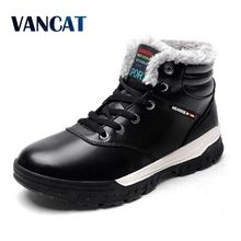 VANCAT Winter Men Fashion Leather Boots Casual Men Leather Moccasin Brand Winter Men Shoes Men Ankle Boots Cheap Cowboy Boots(China)