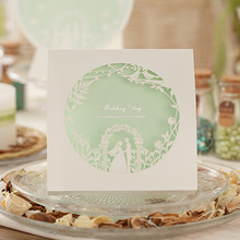 2017 Free Shipping New elegant green white laser cut wedding invitations card supplies 25pcs/lot(China)