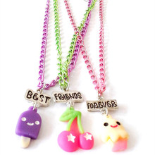 Free shipping Best Friend Forever BFF pendant link chain necklace fast food ice-cream cherry colorful 3 necklace kids jewelry