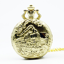New Fashion Gold Train Front Locomotive Engine Necklace Pendant Chain Quartz Analog Pocket Watch reloj de bolsillo(China)