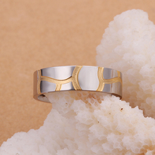 Top quality Silver Plated&Stamped 925 Steel 18 k golden simple round with wave line rings for MEN'S fine jewelry wedding jewelry