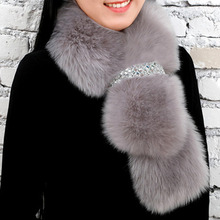 Winter Warm Faux Fur Scarf Women Luxury Brand Thick Warm Winter Fashion Rabbit Fur Cape Scarves With Bling Ring For Cosplay Part(China)