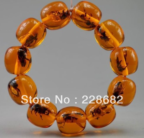 Collectible Decorated Old Handwork Amber Inlay Bee Bead Elastic Bracelet /statueFree