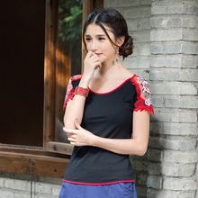 Clothing Mexico 2017 Women Female Summer Vintage 70s Ethnic Vintage White Black Embroidery Patchwork t-shirt m-3xl Tee(China)