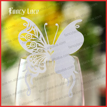 50PCS Hot Sale Laser Cut Wedding Decoration Place Name Card, Elegent Wine Glass Seat Card Paper Butterfly Hanging Party Decor