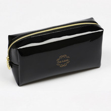 Quality PU leather Zipper Pillow Shaped Brand Cosmetic Bag Make Up Toiletry Bag Cosmetic Pouch Black trousse de maquillage fast(China)