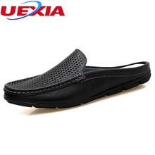 Buy Men slippers Breathable male shoes Hollow Men's Flip Flops Leather Slippers Massage Summer Beach Fashion Beach zapatos hombre for $24.19 in AliExpress store