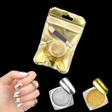 Magic Mirror Chrome Powder Metallic Gold Silver Nail Powder With Sponge Stick Makeup Dust Nail Art DIY Pigment Glitters