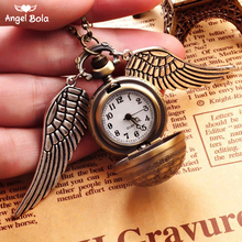 Sweater Necklaces Hot Selling Harry Potter Round Pocket Watch Pendant Retro Snitch Steampunk Quidditch Wing Clock NL-032
