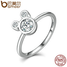 BAMOER New Arrival Authentic 100% 925 Sterling Silver Dazzling Miky Mouse Rings for Women Sterling Silver Jewelry SCR032