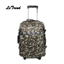 Letrend Korean Oxford Rolling Luggage Large Capacity Leisure Travel Bag Backpack Women Cute Suitcases Wheel Trolley Carry On Bag