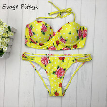 High Quality push up Floral Yellow Sexy women bikini swimwear women 2017 bikini sexy Strapless Yellow Floral Bikini bathing suit