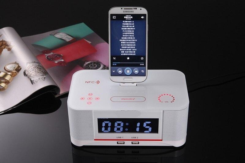 Hot sale A8 LCD Digital FM Radio Alarm Clock NFC bluetooth Speaker Remote Control for iPhone7 8 X Ipad for Samsung