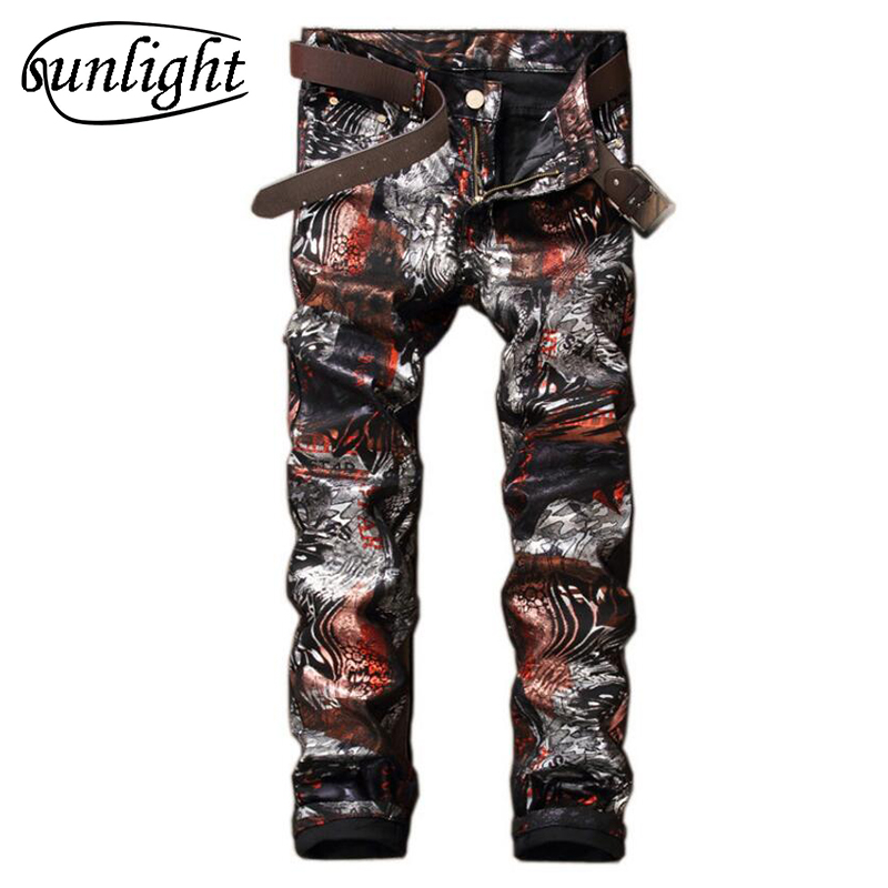 Mens Printed Jeans 2017 fashion jeans Slim Fit Skinny Night Club DJ Denim Trousers Pants Slacks Plus Siz Mens Wine Red JeansÎäåæäà è àêñåññóàðû<br><br>