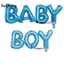 2PCS Connected Baby Ligatures Link Boy Girl Letter Foil Balloons 110CM Birthday Party Decor Helium Baby blue Globos Supplies