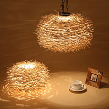 Pendant light fixture Creative personality Countryside Nest Rattan Suspension lampshade Natural  Bird Nest Pendant Light