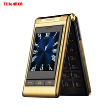 "3.0"" Double dual Screen Dual SIM Card long standby touch screen FM senior Student phone flip old people mobile phone(China)"