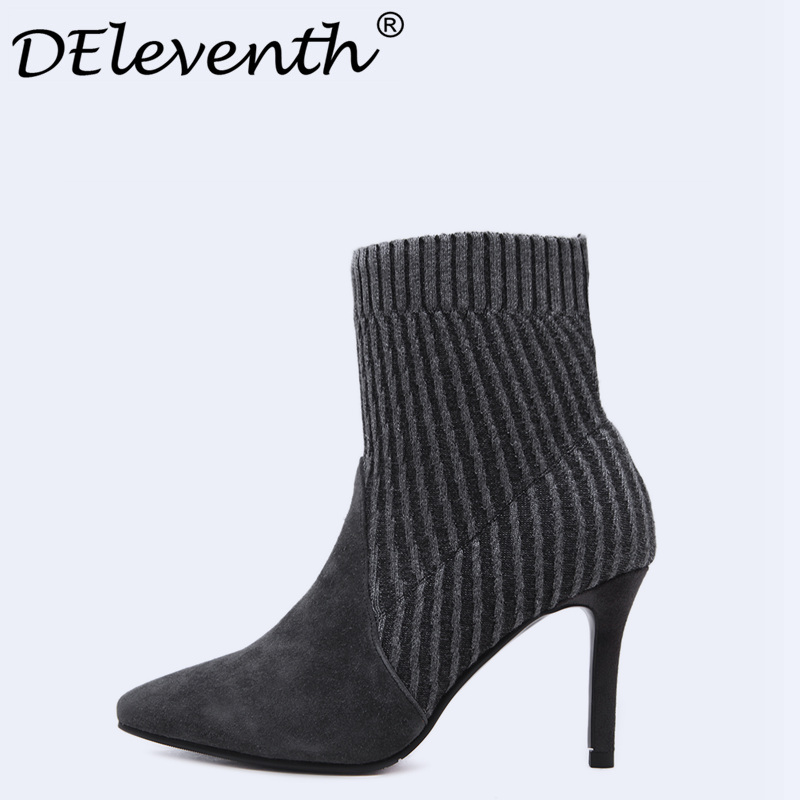 DEleventh Women Stretch Fabric Sock Boots Pointed Toe Sexy Stiletto High Heels Women Winter Boots Ladies Shoes Sapato Feminino<br>