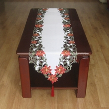 New For Christmas Polyester Embroidery Xmas Satin Table Runner Cutwork by Hand Table Towel Flag Cloth Overlays