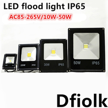 Ultrathin LED Flood Light 10W 20W 30W 50W Black AC85-265V Waterproof IP65 Outdoor Lighting Projector Free Shipping(China)