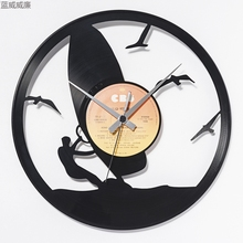 wall digital clock led wall clocks living room decoration vinyl disc wall clock black rc-007(China)