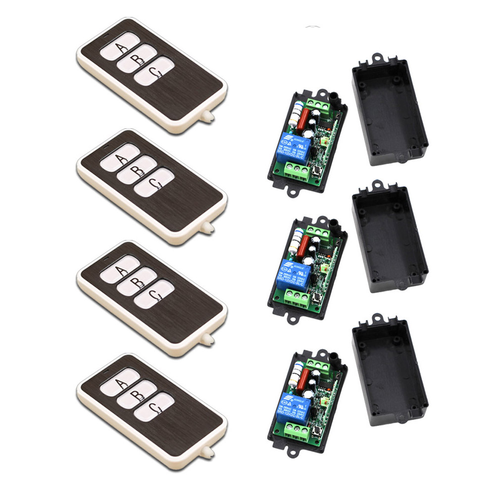 A B C Key Square AC110V 220V 1CH RF Wireless Remote Control Switch System 4Transmitter and 3Receiver 315/433MHZ Free Shipping<br>