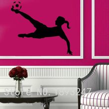 Football Player Vinyl Wall sticker Sport Soccer Girl Plaing Football Mural Art Wall Decal Boy's Bedroom Home Decoration