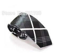 Narrow FASHION slinny necktie fashion casual slim tie black with white cross Tie