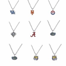Football Triangle Shaped Jewelry  Zinc Alloy Kentucky Mets Texas Rangers Alabama Tigers  Necklace PICK YOUR TEAM